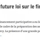 Préfiguration de la future loi sur le financement participatif