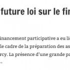 Préfiguration de la future loi sur le financement participatif