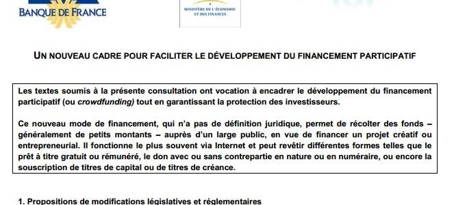 Appel à action : Réponse à la consultation crowdfunding du régulateur