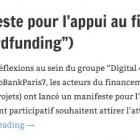 """Manifeste pour l'appui au financement participatif (""""crowdfunding"""")"""