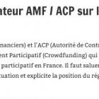 Position du régulateur AMF / ACP sur le financement participatif